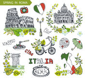 Italy Rome landmark set.Spring leaves wreath group Stock Photo