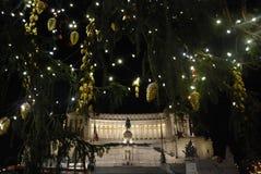 Italy, Rome. Night Christmas in piazza Venezia Stock Photos