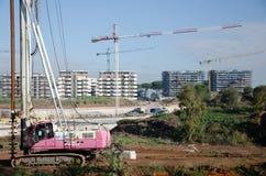 italy rome November 2017 Väller fram borrandemaskinen på en konstruktionsplats Arkivfoto