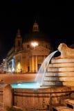 Italy. Rome, Piazza del Popolo, Fontana (fountain). Dell' Obelisco at night Stock Image