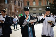 Italy-Rome - 7 September 2017 - celebration of the pilgrimage of. The summit pontificum for the tenth anniversary, priests and religious and nuns in procession royalty free stock photos