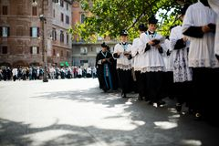 Italy-Rome - 7 September 2017 - celebration of the pilgrimage of. The summit pontificum for the tenth anniversary, priests and religious and nuns in procession royalty free stock image