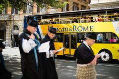 Italy-Rome - 7 September 2017 - celebration of the pilgrimage of. The summit pontificum for the tenth anniversary, priests and religious and nuns in procession stock images