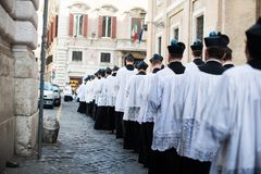 Italy-Rome - 7 September 2017 - celebration of the pilgrimage of. The summit pontificum for the tenth anniversary, priests and religious and nuns in procession royalty free stock photo