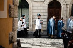 Italy-Rome - 7 September 2017 - celebration of the pilgrimage of. The summit pontificum for the tenth anniversary, priests and religious and nuns in procession royalty free stock images