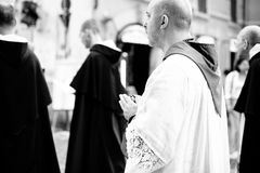 Italy-Rome - 7 September 2017 - celebration of the pilgrimage of. The summit pontificum for the tenth anniversary, priests and religious and nuns in procession stock photos