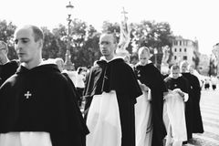 Italy-Rome - 7 September 2017 - celebration of the pilgrimage of. The summit pontificum for the tenth anniversary, priests and religious and nuns in procession stock image
