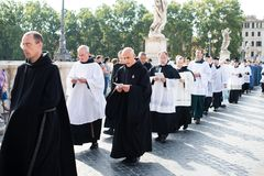 Italy-Rome - 7 September 2017 - celebration of the pilgrimage of. The summit pontificum for the tenth anniversary, priests and religious and nuns in procession stock photo