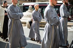 Italy-Rome - 7 September 2017 - celebration of the pilgrimage of. The summit pontificum for the tenth anniversary, priests and religious and nuns in procession royalty free stock photography