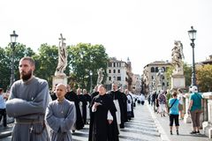 Italy-Rome - 7 September 2017 - celebration of the pilgrimage of. The summit pontificum for the tenth anniversary, priests and religious and nuns in procession stock photography