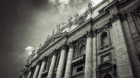 Italy,Rome, St Peter's Square. Vatican. Basilica San Pietro. Italy,Rome,Vatican, St Peter's basilica,fragment. The main entrance royalty free stock images