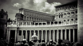 Italy,Rome, St Peter's Square. Vatican. Colonnades. No 2. Italy,Rome,Vatican, St Peter's basilica,fragment. Colonnades in black and white,sephia, window of Papal royalty free stock photography