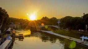 Italy,Rome, sundown from Tiberina Island. Italy,Rome,Trastevere, sunset from Tiberina Island,view on Ponte Garibaldi royalty free stock image