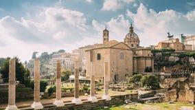 italy rome Tempel av fred och basilikan Aemilia i Roman Forum Santi Luca E Martina Church And Senatorial Palace stock video