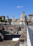 Italy. Rome. Trojan column, churches of Santa Maria di Loreto and Santissima Nome di Maria (Most Holy Name of Mary ),and ruins of Royalty Free Stock Images