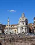 Italy. Rome. Trojan column and ruins of forum of Trajan Stock Photos