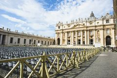 Italy, Rome, Vatican, St. Peter`s Square. Basilica and obelisk sky with sheepish clouds Royalty Free Stock Image