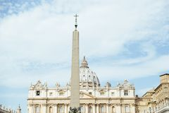 Italy, Rome, Vatican, St. Peter`s Square. Basilica and obelisk sky with sheepish clouds Royalty Free Stock Images