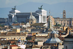 Italy. Rome. View on Monument of Vittorio Emanuele. II (The Vittoriano or Altare della patria) and Rome roofs and domes Stock Photos