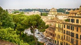 Italy,Rome, view on piazza Venezia from Aracoeli Church. Italy,Rome, panorama from Capitoline Hill,via del Teatro di Marcello stock photo