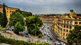 Italy,Rome, view on Teatro di Marcello from Aracoeli Church. Italy,Rome, panorama from Capitoline Hill,via del Teatro di Marcello and Cordonata stairs by royalty free stock photos