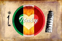 Italy Rome vintage art design illustration Stock Image