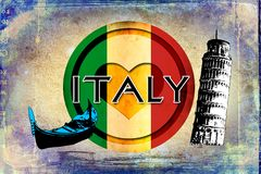 Italy Rome vintage art design illustration Stock Photos