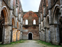 Italy San Galgano abbey ruins Stock Photos