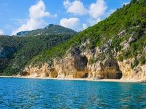 Italy, Sardinia, Cala Luna beach. Panoramic view from the sea Stock Image