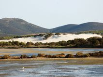 Italy, Sardinia, Carbonia Iglesias, Porto Pino, the pond behind the white sand dunes. Sardinia, Carbonia Iglesias, Porto Pino, the pond behind the white sand Royalty Free Stock Image