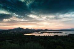 SARDINIA LANDSCAPE GULF OF MARINELLA AT SUNSET SARDEGNA. ITALY SARDINIA LANDSCAPE GULF OF MARINELLA SARDEGNA stock images