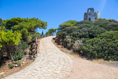 Italy Sardinia Torre di Chia way from tower in sun day Stock Photography