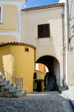 Italy Scalea Village. Scalea is a small and picturesque town on a hill overlooking the sea in the province of Calabria, Southern Italy Royalty Free Stock Photo