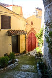 Italy Scalea Village. Scalea is a small and picturesque town on a hill overlooking the sea in the province of Calabria, Southern Italy. The village has no Stock Photo