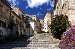 Italy Scalea Village Stairs. Scalea is a small and picturesque town on a hill overlooking the sea in the province of Calabria, Southern Italy. The village has no Stock Image