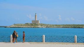Italy sea family trip memory pictures vieste lighthouse gargano - Apulia - Italy stock video footage
