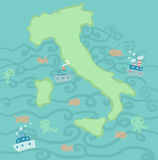 Italy sea map Royalty Free Stock Images