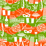 Italy seamless pattern. Italian symbols and objects Stock Photography