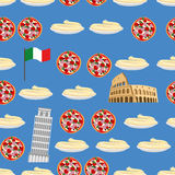 Italy seamless pattern. Sightseeing: leaning tower of Pisa, Colosseum, and national food: pizza and pasta. Vector background of Sy Stock Photos