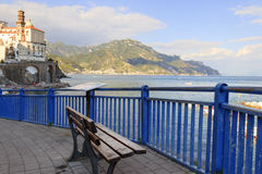 Italy seascape:Amalfi Coast (Costiera Amalfitana).View of Atrani marina. royalty free stock images