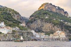 Italy seascape:Amalfi Coast (Costiera Amalfitana). Stock Images