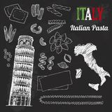 Italy set. Food collection of hand drawn italian flag, map, pasta, Tower of Pisa, Italia lettering set. Blackboard background royalty free illustration
