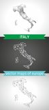 Italy set of grey and silver mosaic 3d polygonal maps Stock Photos