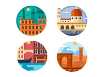 Italy set icon. Rome and Venice royalty free illustration