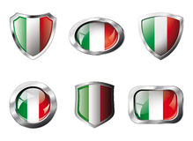 Italy set shiny buttons and shields of flag Stock Photos
