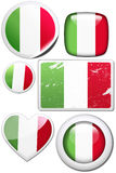 Italy - Set of stickers and buttons. Glossy and colorful stickers with reflection set Royalty Free Stock Photos