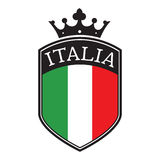 Italy Shield. Shield with italy flag and a crown on top isolated on white background Stock Photo