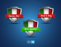 Italy shields with red and green ribbons Stock Photo