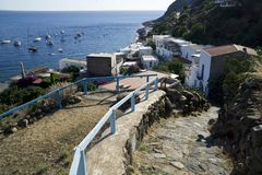 Italy Sicily Aeolian Islands, Alicudi Island. Panoramic view of the town and the harbor royalty free stock photos