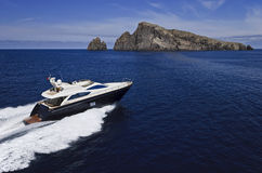 Italy, Sicily, aerial view of luxury yacht stock images